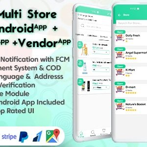 GoGreen – Food, Grocery, Pharmacy Multi Store(Vendor) Android App with Interactive Admin Panel